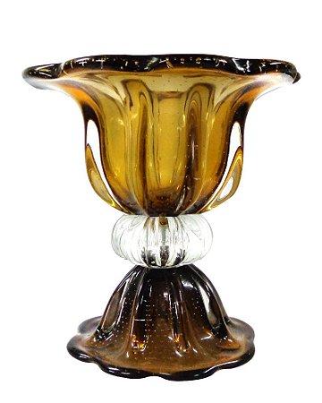Vaso de Cristal Marrom 37x37cm