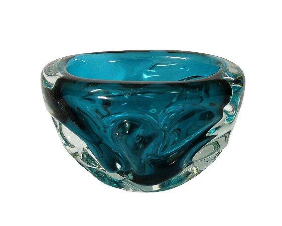 Vaso de Cristal Oval Azul 18x13cm