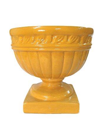 Vaso Pedestal de Cerâmica Amarelo 30cm