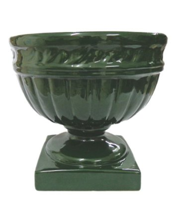 Vaso Pedestal de Cerâmica Verde 30cm