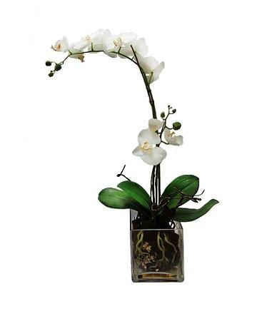 Vaso de Vidro Orquidea Phalaenopsis Branca 70cm