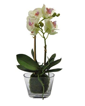 Vaso de Vidro com Orquidea Branca 35cm