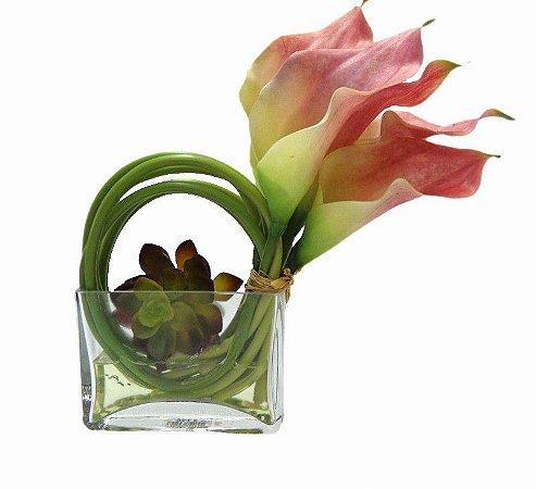 Copo de Leite Rosa com Vaso de Vidro 24x15cm
