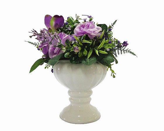 Vaso de Cerâmica com Flores do Campo 23cm