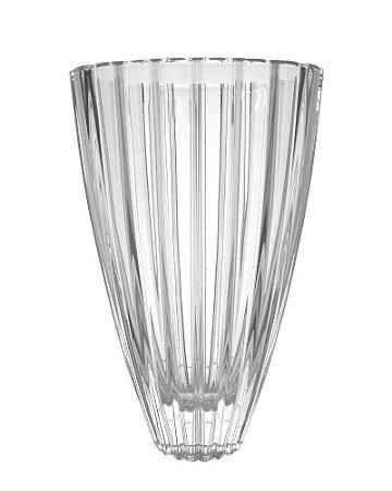 Vaso de Cristal Transparente Oval com Relevo 20x30x13cm