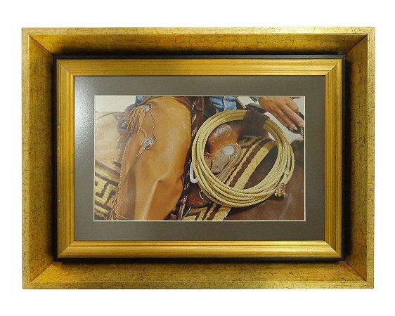 Quadro Horses Loop Moldura de Madeira Dourado 48x36cm