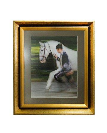 Quadro Horses White Moldura de Madeira Dourado 50x60cm