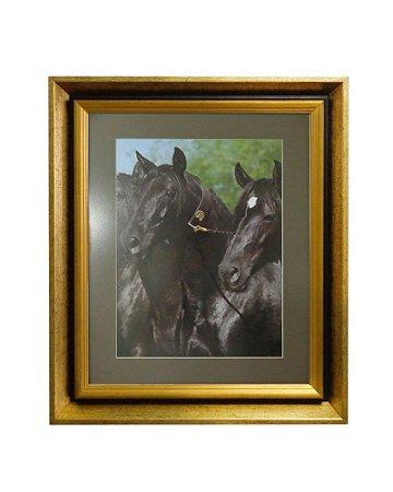 Quadro Horses Black Moldura de Madeira Dourado 50x60cm