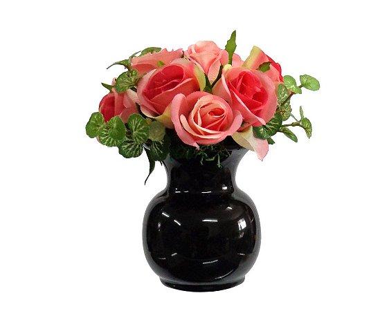 Arranjo Mini Rosas em Vaso Cerâmica Preto Redondo 18x14cm