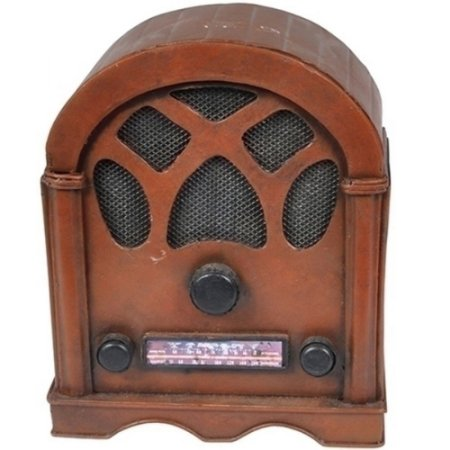 Cofre de Metal Mini Radio Marrom 17cm