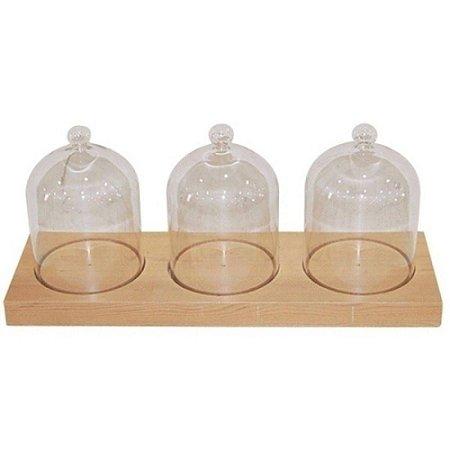 Conjunto 3 Redomas de Vidro Transparente com Base em Madeira 38x15cm