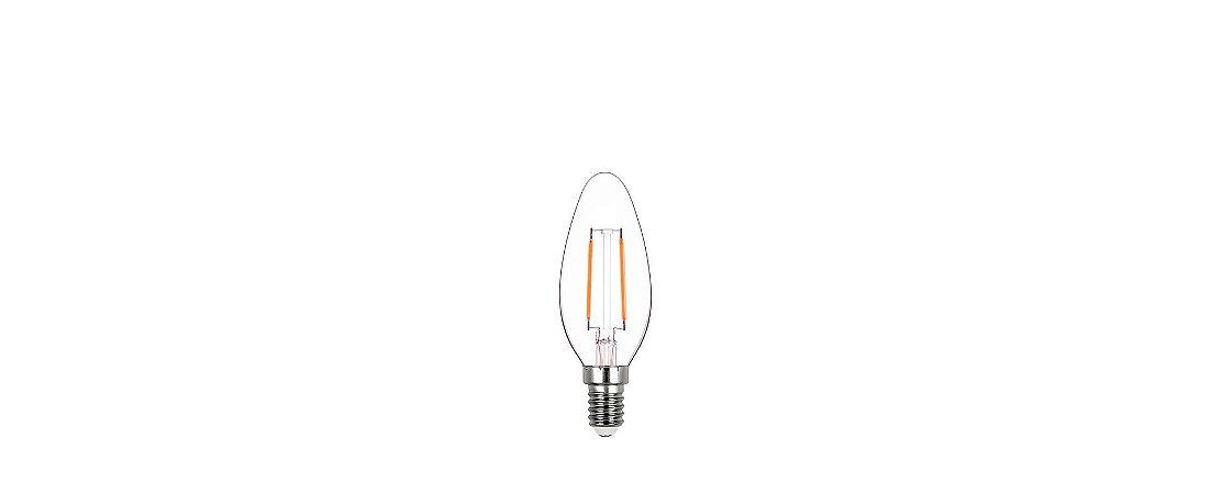 Lâmpada Vela Lisa Filamento LED 2W 200LM E14 2700K