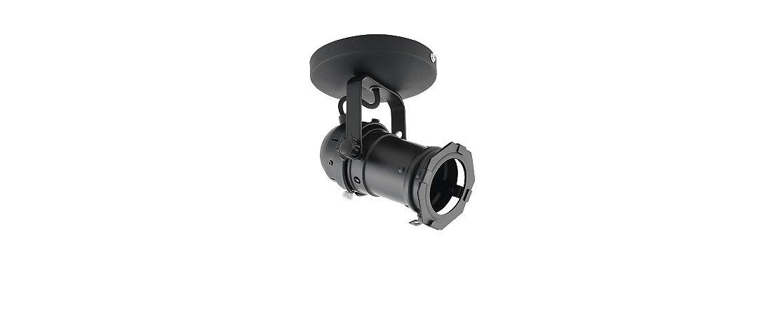 Spot Cênico PAR16 GU10 Preto com Canopla