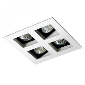 Luminária Quadrada 12,5x12,5cm Embutir Foco Quádruplo Recuado Direcional
