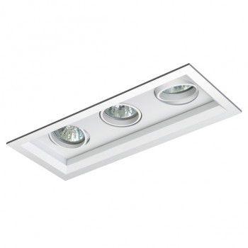Luminária Retangular 11,5x29cm Embutir Recuada Foco Triplo Direcional
