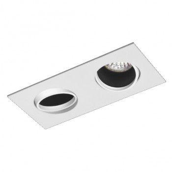 Luminária Retangular Embutir 8x19cm Foco Duplo Recuado Direcional