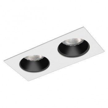 Luminária Retangular Embutir Foco Duplo Fixo Recuado 11x22cm E27