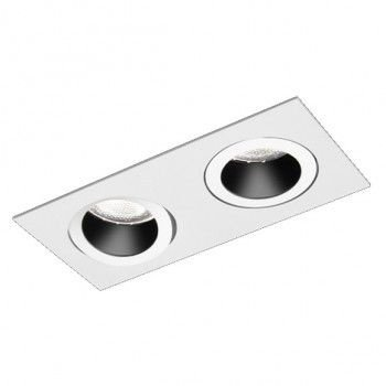 Luminária Retangular Embutir Foco Duplo Recuado Direcional 11x22cm E27