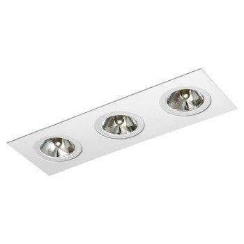 Luminária Retangular Embutir Foco Triplo Direcional 11x33cm AR70