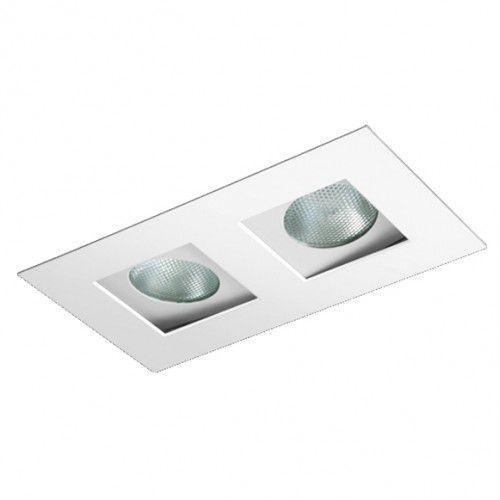 Luminária Retangular Embutir Foco Duplo Recuado Direcional 13,5x27cm PAR20