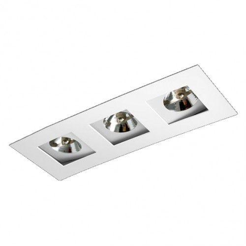 Luminária Retangular Embutir Foco Triplo Recuado Direcional 13,5x40,5cm