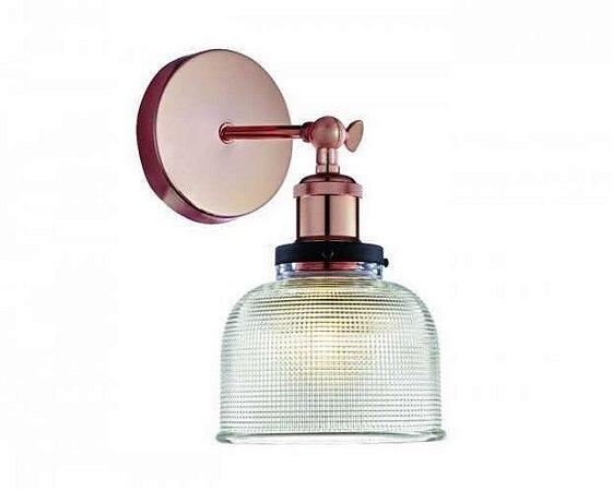 Arandela em Vidro Transparente e Soquete Cobre
