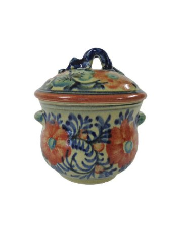 Pote Decorativo de Cerâmica com Pintura Floral 15cm