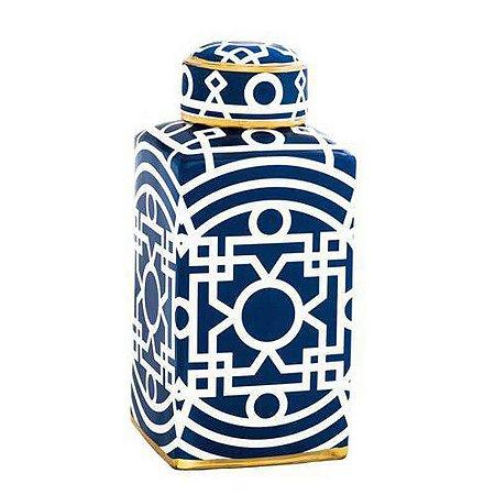 Potiche Decorativo em Cerâmica Marroquino 41cmx18cmx18cm Mart Collection Azul e Branco