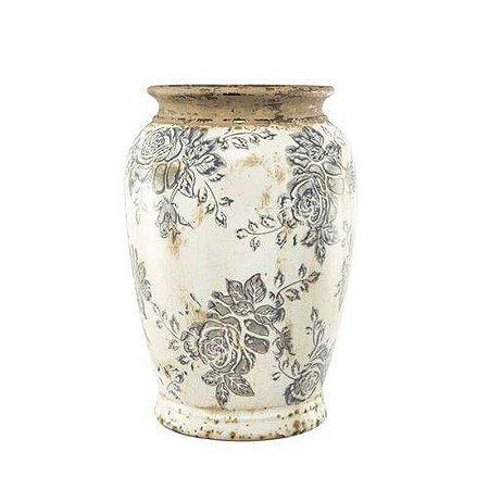 Vaso Decorativo em Cerâmica Florido 21,5cmx15cm Mart Collection Branco