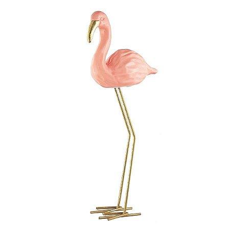 Flamingo em Pé Cerâmica 25,5cmx12cm Mart Collection Rosa