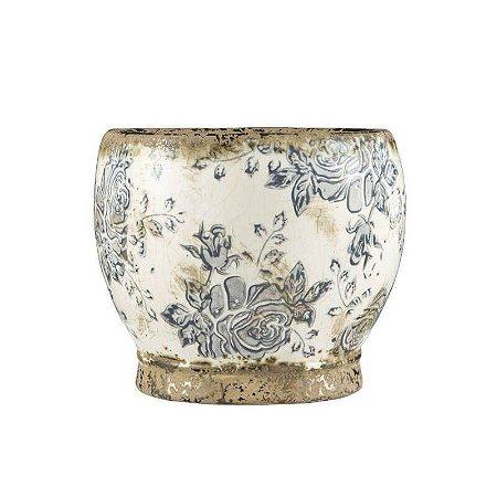 Cachepô Floral em Cerâmica 16,5cmx20cm Mart Collection Branco
