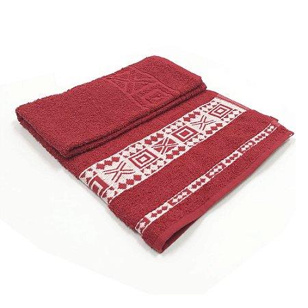 Toalha De Rosto Jacquard Nomade - Cor Vermelha/Bordado Branco 47x77 cm