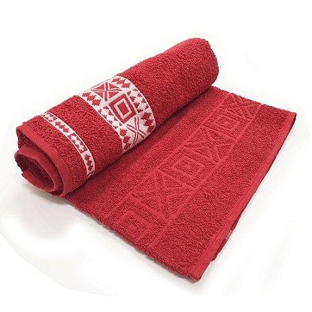 Toalha De Banho Nomade – Cor Vermelha C/ Branco 75cm X 1,40m
