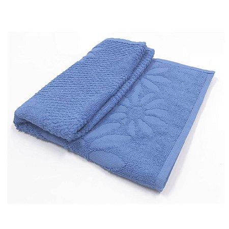 Toalha De Rosto Jacquard Luxo - Cor Azul 49x68 cm
