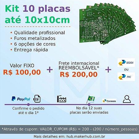 Kit 10 placas dupla face até 10x10cm