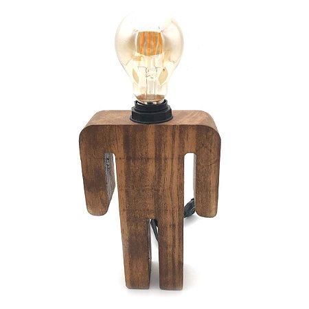 Luminária de mesa em madeira - Menino
