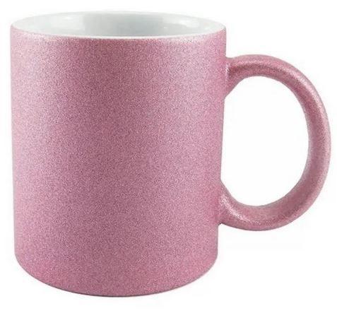 Caneca rosa glitter personalizada para frases