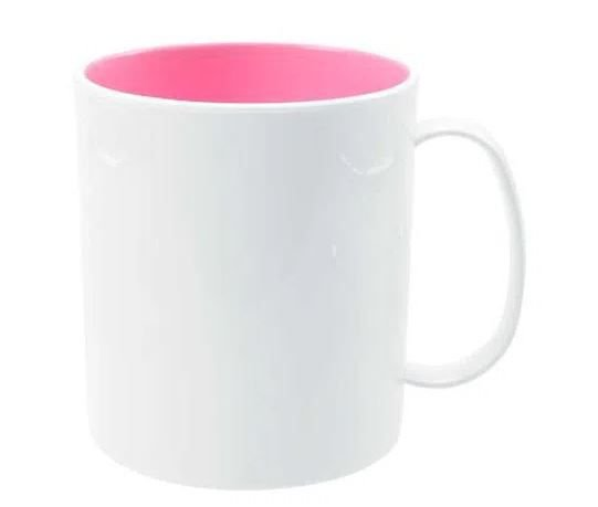 Caneca branca de Polímero c/ interior rosa Personalizada