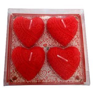 kit com 4 velas coração