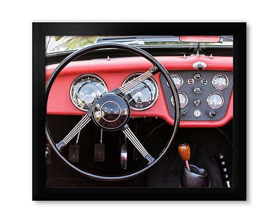 Quadro Painel Carro Antigo Vermelho Retro