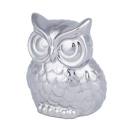 Coruja Cerâmica Prata