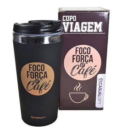 Copo Térmico Viagem Foco Força e Café