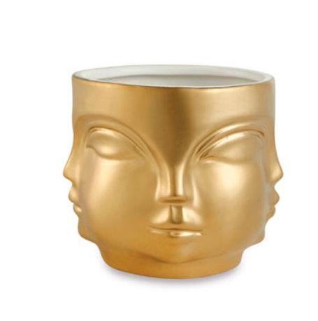 Cachepot em cerâmica rostos dourados