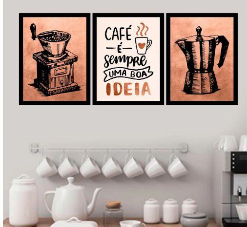 Kit 3 Quadros Decorativos Café é sempre uma boa ideia