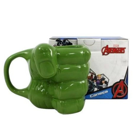 Caneca de Porcelana Chá Café Mão do Hulk 300ml Presente