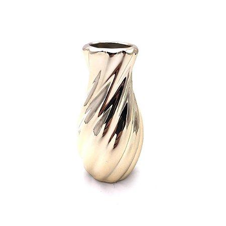 Vaso decorativo de cerâmica dourado