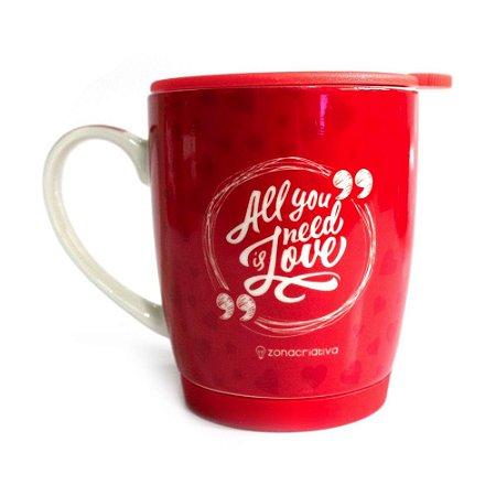 Caneca cerâmica vermelha - All you need is Love
