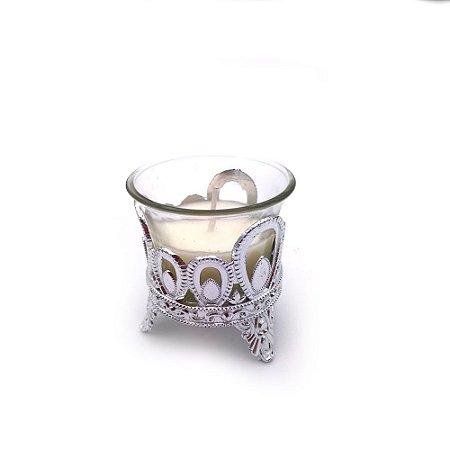 Castiçal de vidro vela branca