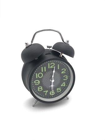Relógio despertador Metal Preto