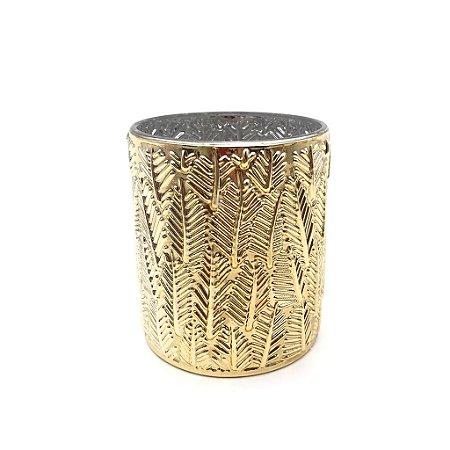 Vaso decorativo em vidro dourado riscos